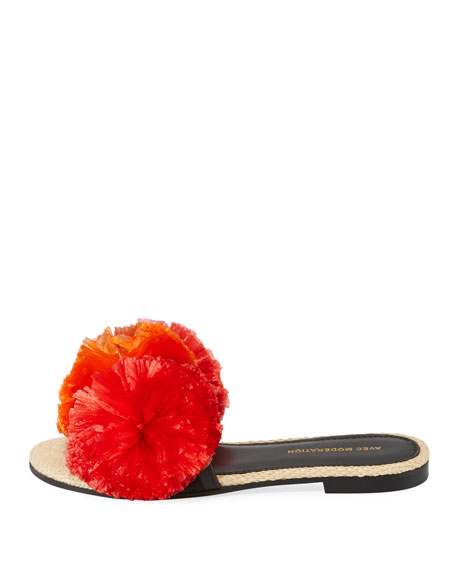 Bora Bora Pompom-Embellished Slide Sandals, Red