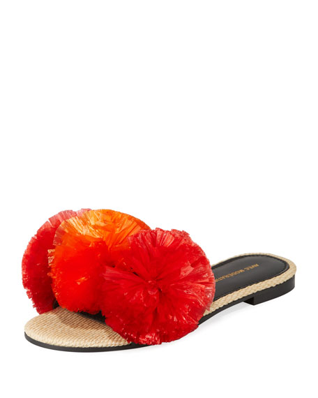 Avec Modération BORA BORA POMPOM-EMBELLISHED SLIDE SANDALS, RED