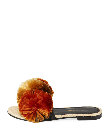 Bora Bora Pompom-Embellished Slide Sandals, Brown