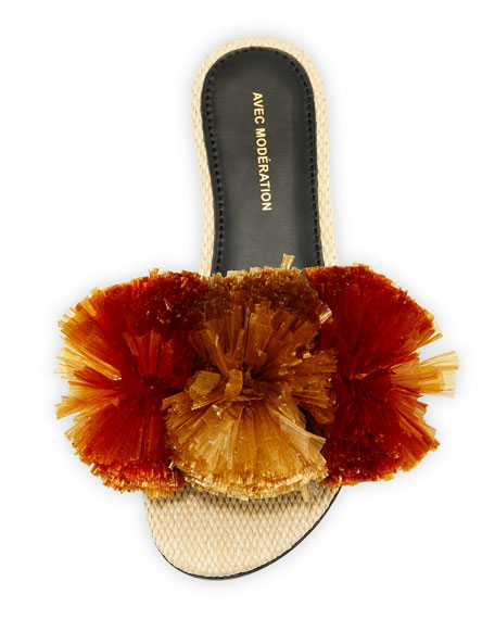 Bora Bora Pompom-Embellished Slide Sandal, Brown