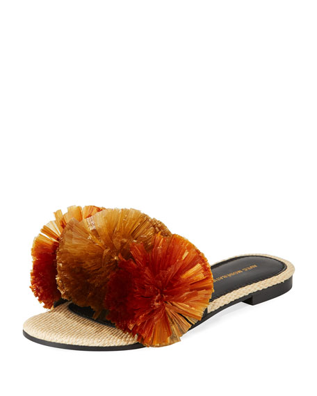 Avec Modération BORA BORA POMPOM-EMBELLISHED SLIDE SANDALS, BROWN
