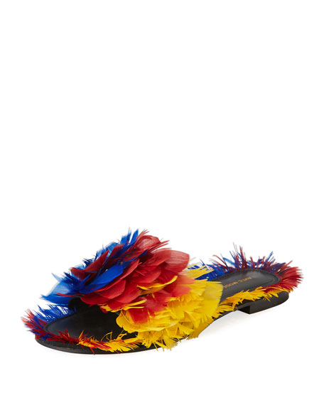 Avec Modération BORA BORA FEATHER-EMBELLISHED SLIDE SANDAL