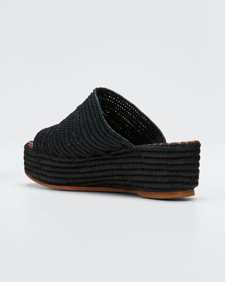 Karim Woven Raffia Wedge Slide Sandals