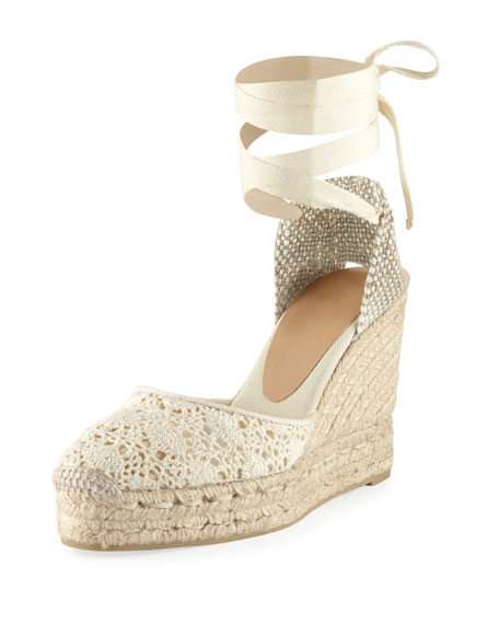 Carina Crocheted Ankle-Wrap Espadrille