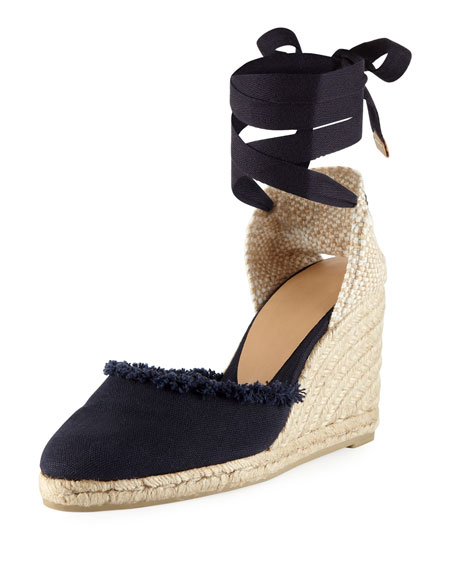 Canela Ankle-Wrap Canvas Wedge Espadrille