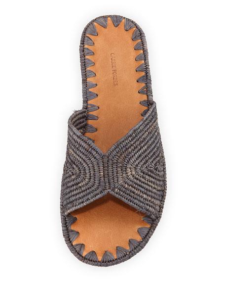 Salon Woven Raffia Slide Sandal