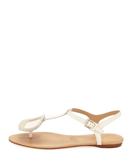 Chips Flat T-Strap Leather Sandal