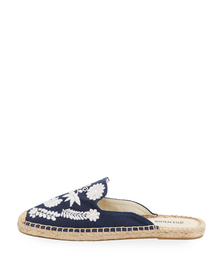 Ibiza Embroidered Canvas Mule