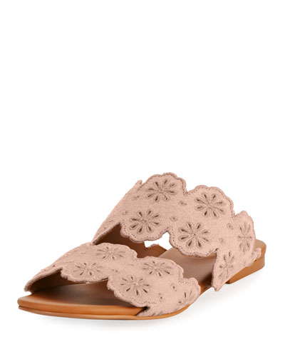 Cutout Floral Two-Band Slide Sandal