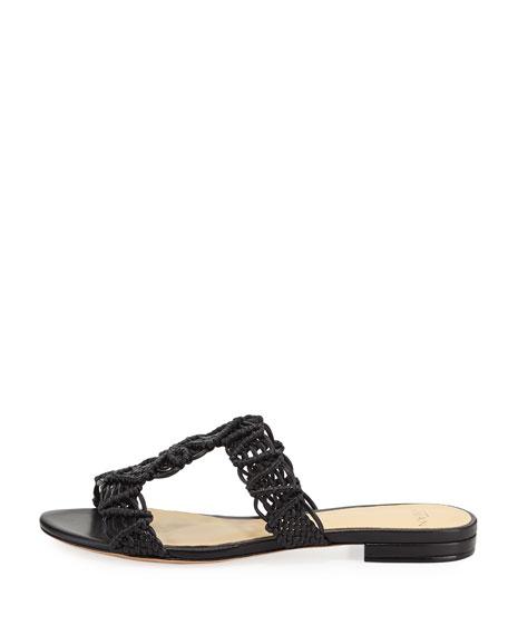 Rondah Crocheted Leather Slide Sandal, Black