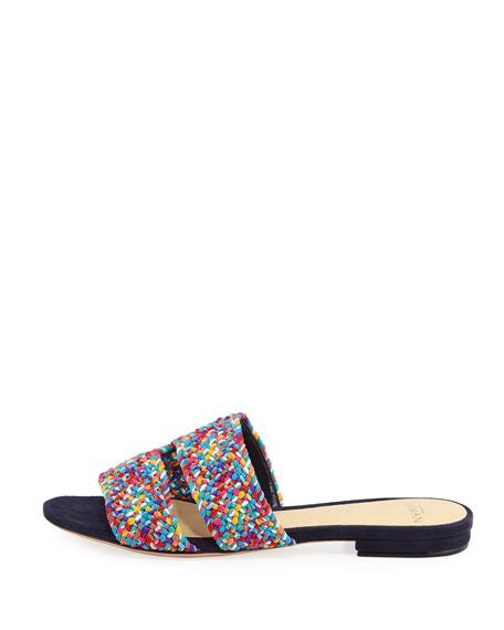 Miah Woven Flat Slide Sandal, Navy