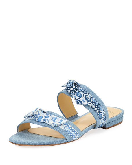 Linda Bow-Tie Denim Slide Sandal