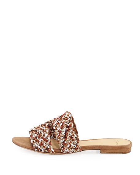 Miah Woven Flat Slide Sandal, Beige