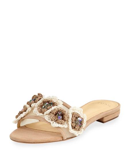Dandelion Crocheted Mesh Slide Sandal