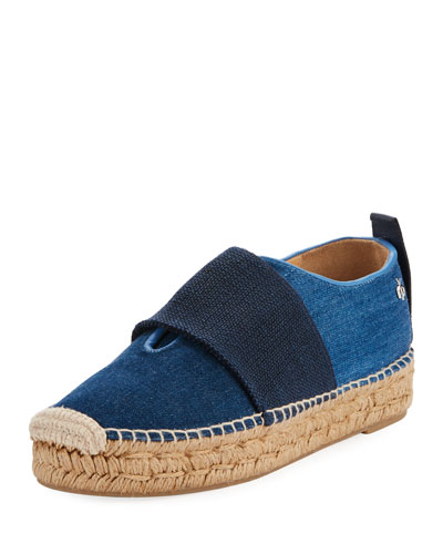 Nina Denim Slip-On Espadrille, Blue
