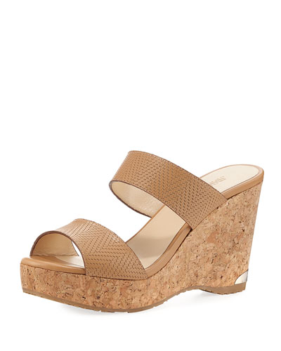 Parker Textured Leather Two-Band Sandal