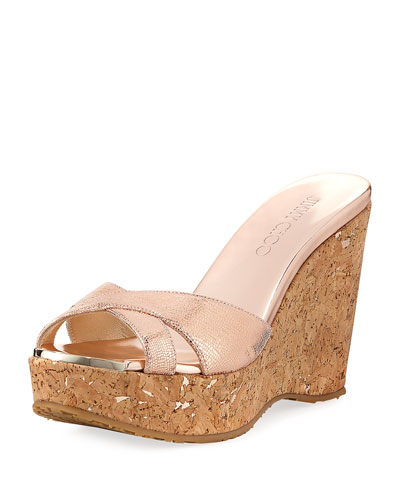 Perfume Metallic Leather Wedge Platform Sandal