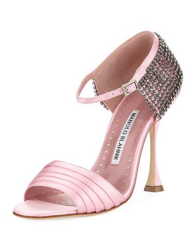 Sidina Satin Ankle-Strap Sandal