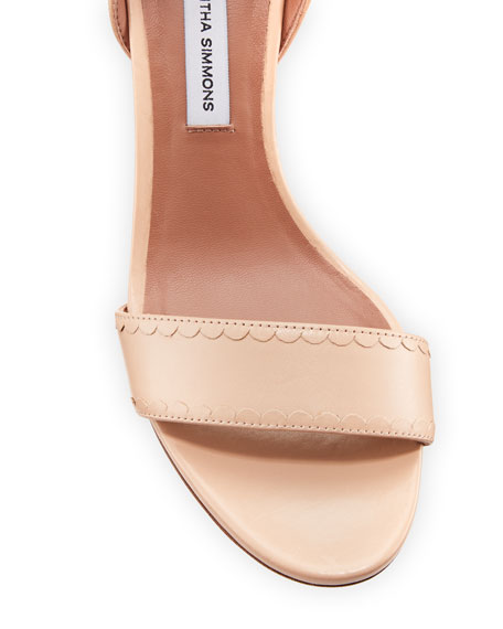 Leticia Scalloped Leather Sandal