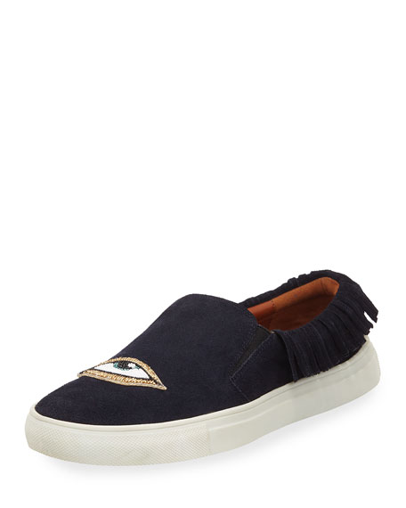 Karita Fringe Suede Slip-On Sneakers