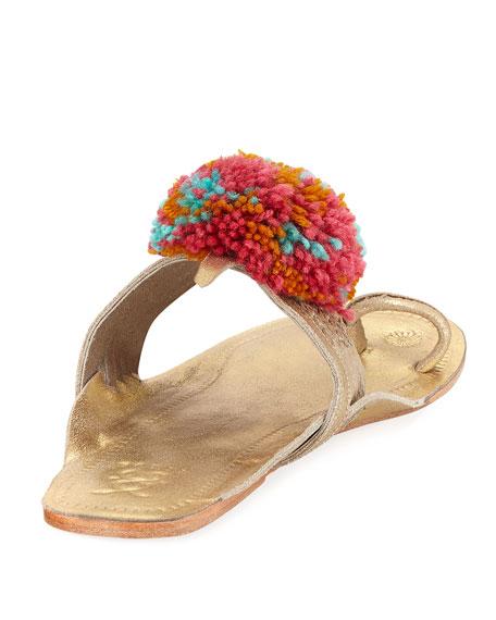 Leo Pompom Metallic Sandal