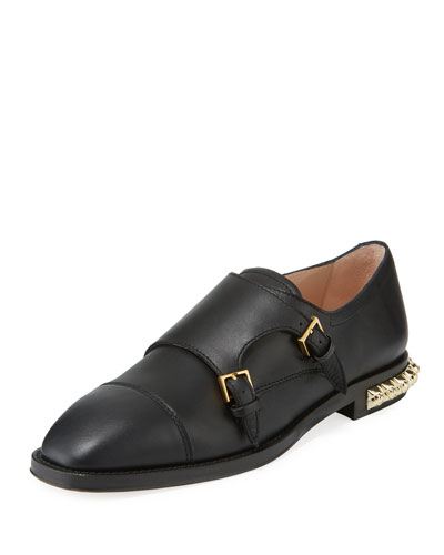 Studdley Double-Monk Loafer with Studded Heel