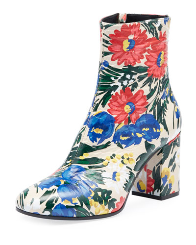 Paint Floral Zip 80mm Bootie, Multi