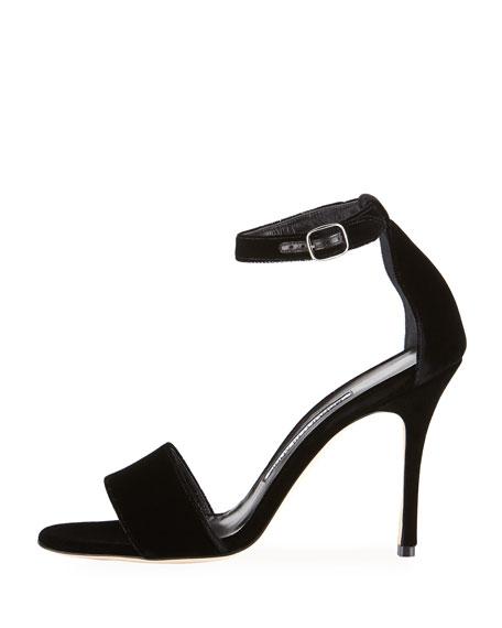 Tres Velvet Ankle-Wrap Sandal