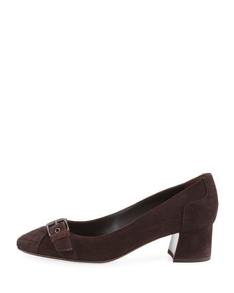Suede Buckle-Toe 45mm Pump, Espresso