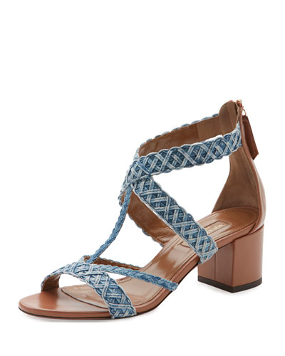 Tyra Woven Denim Block-Heel Sandal, Jeans Mix