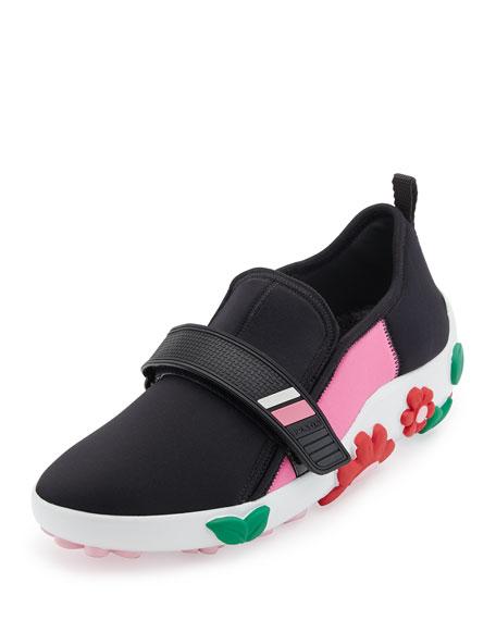 Prada neoprene flower heel sneaker blackpink mightylinksfo