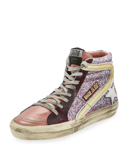 SLIDE LEATHER SNEAKERS WITH GLITTER