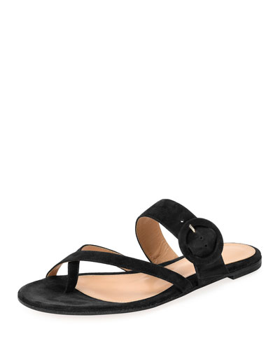 Strappy Flat Suede Sandal