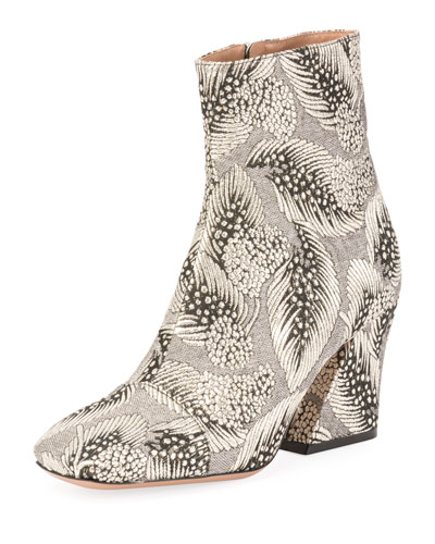 Metallic Brocade Block-Heel Boot