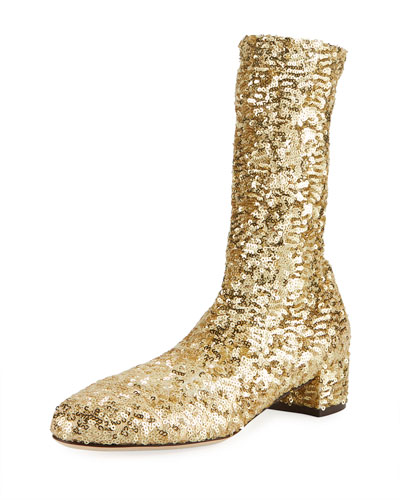 Sequined High 30mm Bootie
