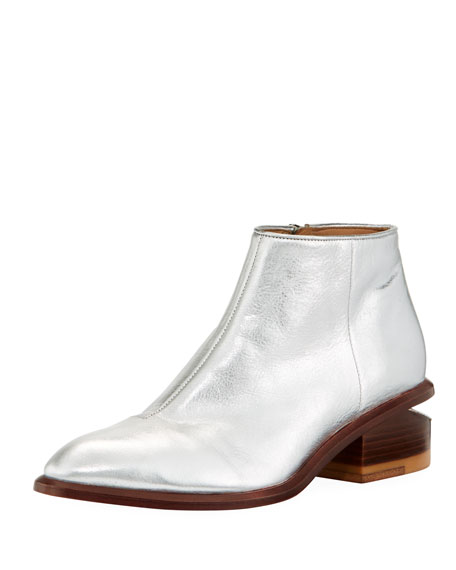 Kori Metallic Leather Lift-Heel Bootie
