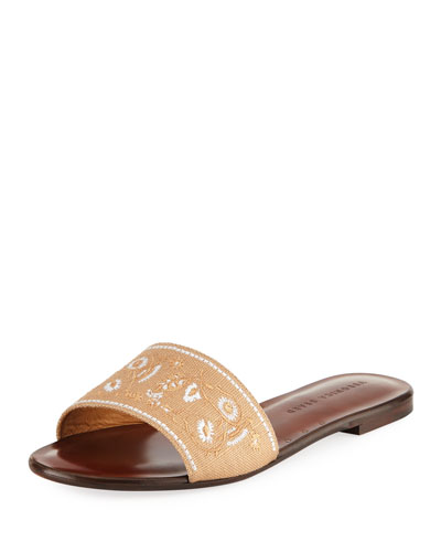 Flor Embroidered Canvas Slide Sandal
