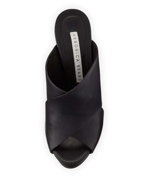 Holt Leather Block-Heel Slide Sandal