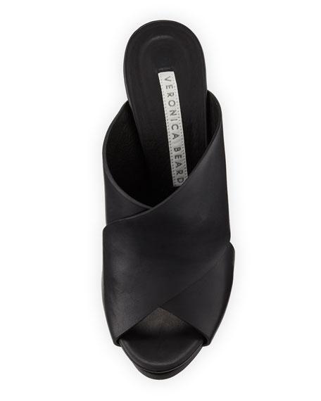 Holt Leather Block-Heel Slide Sandal
