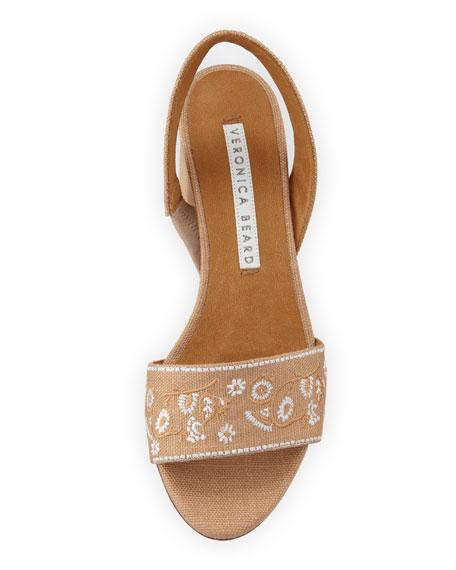 Brea Embroidered Linen Slingback Sandal