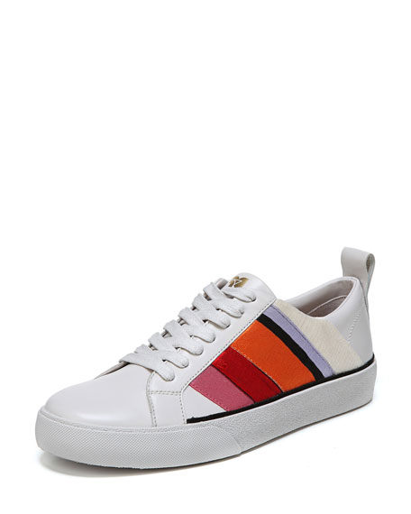 Tess-3 Striped Leather Lace-Up Sneaker