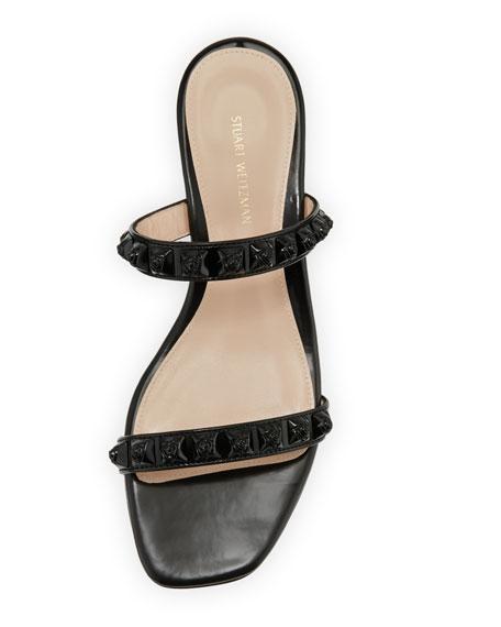 Stella Studded Two-Band Block-Heel Sandals, Black