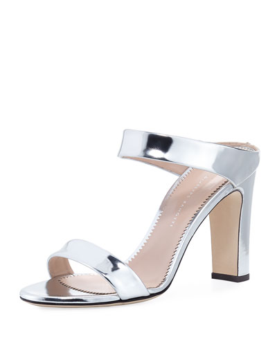 Two-Band Metallic Leather Slide Sandal