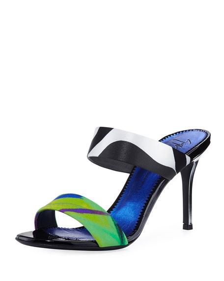 Printed Double-Strap Slide Sandal
