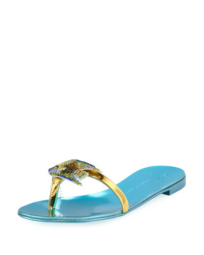 Flat Slide Sandal with Jeweled Fish