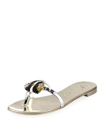 Metallic Flat Sandal with Jeweled Fish