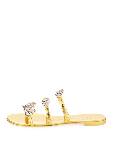 Crystal-Embellished Metallic Three-Strap Slide Sandal
