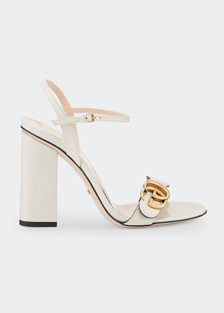e12dfc9f576 Gucci Marmont Leather Block-Heel Sandals