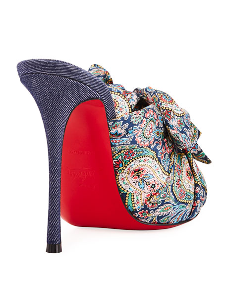 4ee46d8bb702 Christian Louboutin Moniquissima Paisley Red Sole Slide Sandal