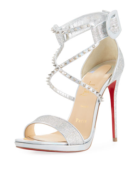 97cff4aeba0 Christian Louboutin Choca Lux 120Mm Metallic Fabric Red Sole Sandal In  Silver